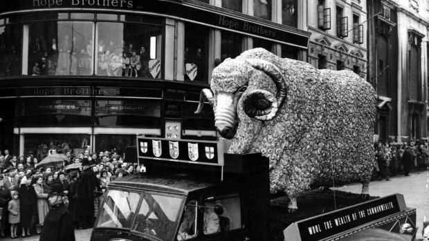 The Lord Mayor of London is a wool merchant and the float in this November 1955 procession carrying a 15ft high model of a merino ram, symbolising wool as the wealth of the Commonwealth. Photograph: L. Blandford/Topical Press Agency/Getty Images