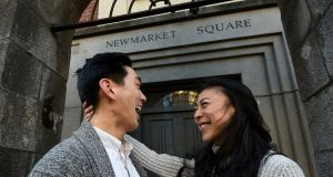 Agape Deng with her husband Tim Wang in Newmarket, Dublin. Photograph: Dave Meehan