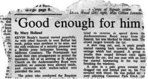 Mary Holland's report on the front page of The Irish Times, March 21st 1988.