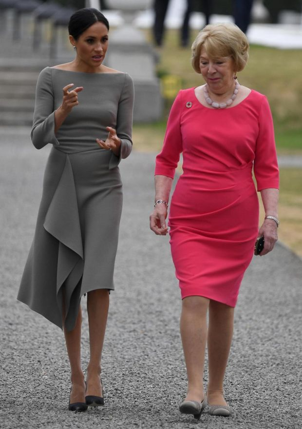 Meghan with Sabina Coyne during her visit to Dublin in July, 2018. Photophra: Andrew Parsons/Pool/Getty Images