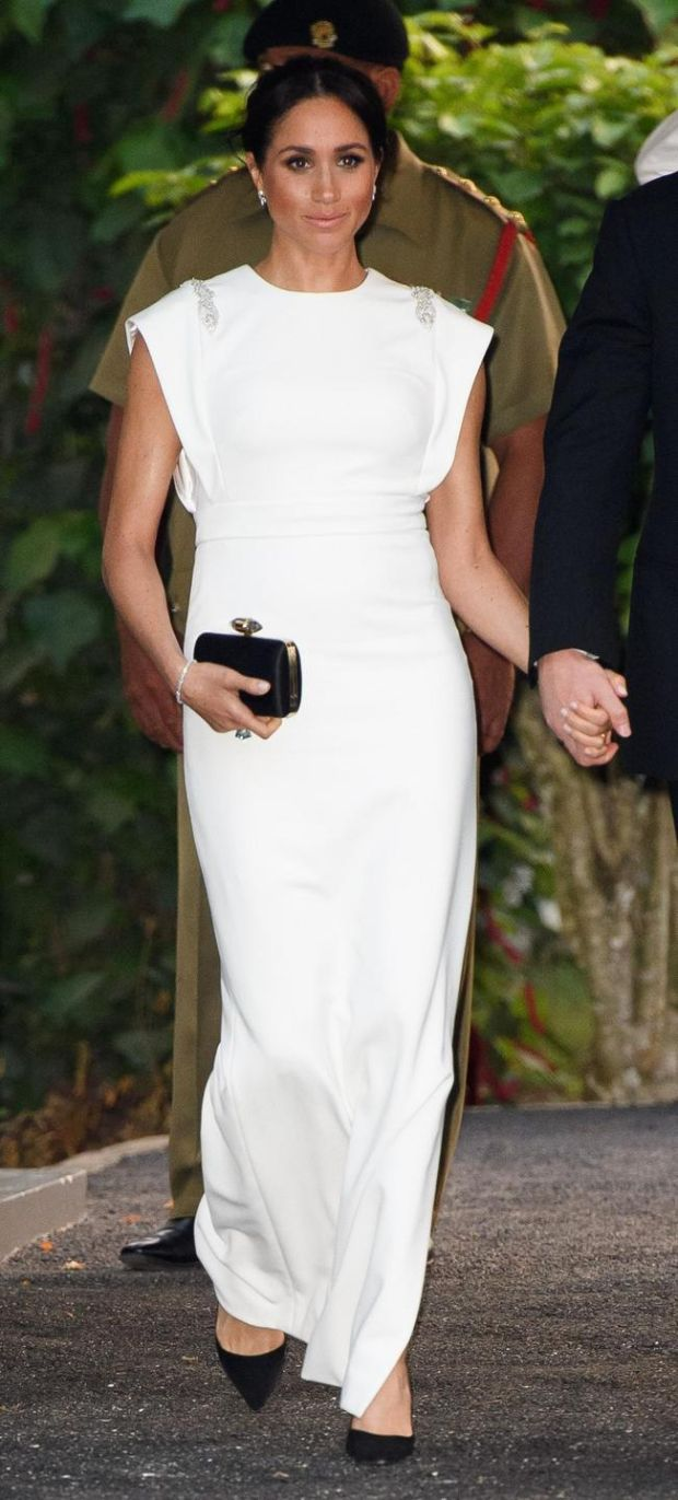 The Duchess of Sussex in a white crépe gown by Irish designer Don O'Neill. Photograph: Pool/Samir Hussein/WireImage
