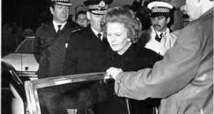 Margaret Thatcher  visiting the site of the Lockerbie bombing in 1988, a year in which security concerns dominated her dealings with the Irish government.  Photograph: Peter Thursfield