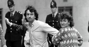 Gerry Conlon,   one of the Guildford Four, who were wrongly convicted for a bombing in Guildford, after his release from the Old Bailey, London in  October 1989.  Photograph: Peter Thursfield