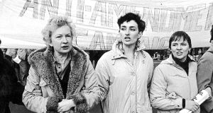 L-R Mary Holland, Ann Marie Hourihan and Evelyn Conlon at anti-amendment march in 1984