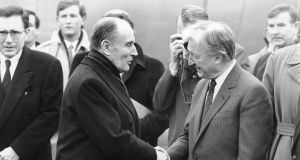 Taoiseach Charles Haughey welcoming French president Francois Mitterrand at Dublin Airport in February 1988.