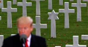 US president Donald Trump speaks at a  commemoration ceremony for Armistice Day, 100 years after the end of World War One, at the Suresnes American Cemetery and Memorial in Paris.  Photograph: Carlos Barria/Reuters