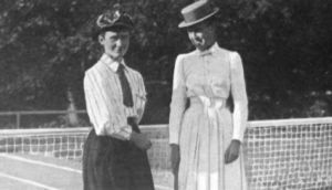 Irish tennis player Mabel Cahill (1863-1905) with US player Emma Leavitt Fellowes Morgan.