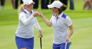 Bronte Law and Leona Maguire playing together at the 2016 Curtis Cup at Dún Laoghaire Golf Club. Photograph:  Patrick Bolger/Getty Images