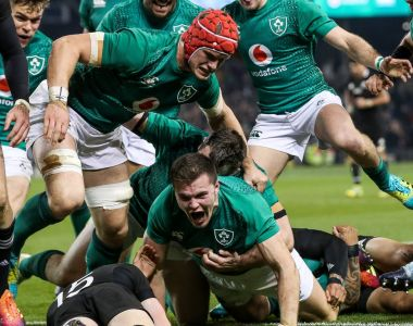 Ireland's Jacob Stockdale celebrates scoring the memorable try in the victory over the All Blacks at the Aviva Stadium. Photograph: Gary Carr/Inpho