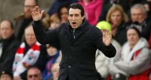 Arsenal manager Unai Emery: he did not rule out continuing his policy of selecting less experienced players in the Carabao Cup.  Photograph: Reuters/John Sibley