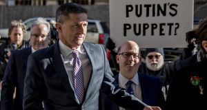 Michael Flynn, former US national security adviser, arriving at federal court in Washington on Tuesday. Photograph:  Andrew Harrer/Bloomberg