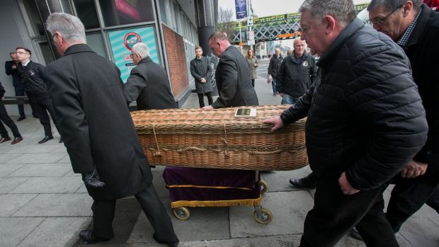 Seán Garland's remains arrive for his removal at Liberty Hall, Dublin. Photograph: Gareth Chaney/Collins