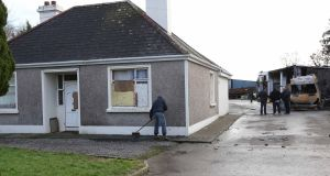 The scene on Tuesday at the house in Strokestown, Co Roscommon, which was the centre of then eviction. Photograph: Brian Farrell