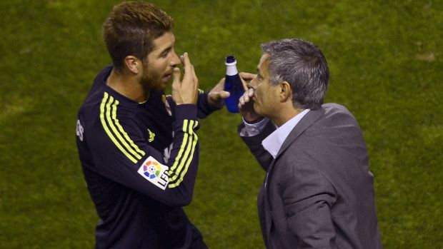 Real Madrid defender Sergio Ramos with his manager Jose Mourinho a league match against Rayo Vallecano in 2012. Photograph: Pierre-Philippe Marcou/AFP/Getty Images