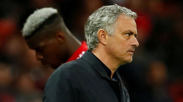 Manchester United manager Jose Mourinho as Paul Pogba is substituted during the Premier League game against WEst Brim in April 2018. Photograph: Jason Cairnduff/Action Images via Reuters