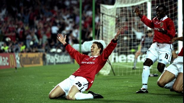 Solskjaer celebrates scoring the winner for Manchester United against Bayern Munich in the 1999 Champions League final. Photo: Ben Radford/Allsport