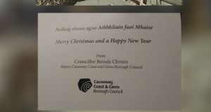 Mayor Brenda Chivers' Christmas card. Photograph: Causeway Coast Community