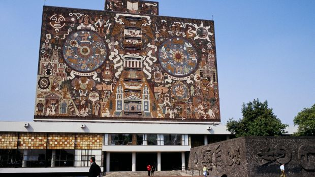 The Library of the National Autonomous University of Mexico, designed and built in the early 1950s, has been given UNESCO World Heritage status. Photograph: Patrick Escudero/Gamma-Rapho via Getty Images