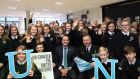 Taoiseach Leo Varadkar  and Vice Admiral Mark Mellett, Chief of Staff of the Defence Forces with students from Ringsend College at the launch of the  Global Schools programme. Photograph: Julien Behal