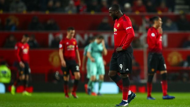 A dejected Romelu Lukaku of Manchester United reacts after they conceded during the 2-2 draw with Arsenal at Old Trafford. Photo: Robbie Jay Barratt - AMA/Getty Images