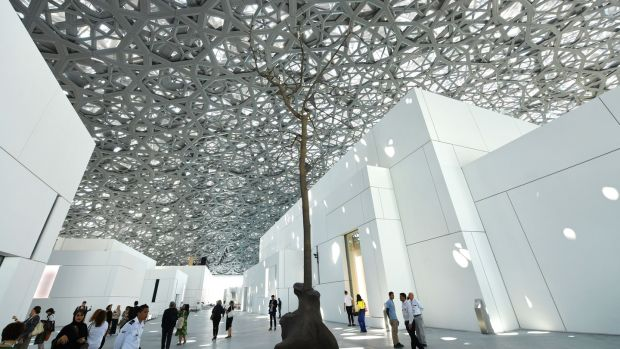A sculpture by Italian artist Giuseppe Penone at the Louvre Abu Dhabi Museum. Photograph: Giuseppe Cacace/AFP/Getty Images