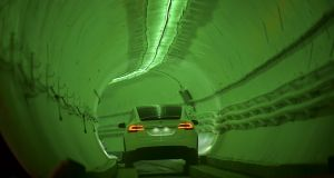 The test tunnel is a 1.1-mile underground track that runs near the headquarters of Musk's SpaceX company in  Los Angeles. Photograph: Getty