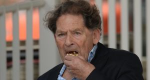 Former UK chancellor of the exchequer, Nigel Lawson, enjoying a  biscuit and cheese during the tea break of  a cricket match between England and South Afri in London on July 17th, 2017 Photograph:  Philip Brown/Getty