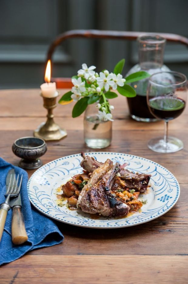 Spiced lamb chops with caponata