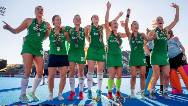 Ireland's hockey team celebrate with their World Cup silver medals. Photograph: Morgan Treacy/Inpho