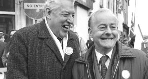 Ian Paisley and  James Molyneaux in Derry: Molyneaux, a diffident and taciturn figure, was ultimately not able or not willing to hold a direct meeting with Haughey. Photograph: Peter Thursfield