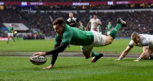 Jacob Stockdale leads the way  for Ireland with 10 tries, including this one against England in this year's Six Nations.  Photograph:  Shaun Botterill/Getty Images)