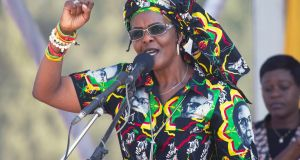 Former Zimbabwean first lady Grace Mugabe addresses  supporters at a rally in Gweru, Zimbabwe, in September 2017. Photograph: Tsvangirayi Mukwazhi/AP