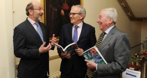 Pictured at the launch of Education Matters Ireland's Yearbook of Education were from left to right: Brian McCraith President of DCU, Brian Mooney editor of the book, Maurice Manning Chancellor NUI Photograph: Aidan Crawley