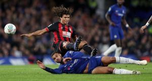 Nathan Ake of Bournemouth battles for possession with Ruben Loftus-Cheek. Photograph: Christopher Lee/Getty Images