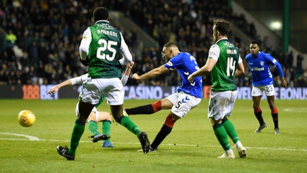 Rangers Eros Grezda has a shot at goal. Photograph: Ian Rutehrford/PA Wire.