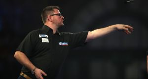 James Wade during day seven of the William Hill World Darts Championships at Alexandra Palace, London. Photo: Adam Davy/PA Wire