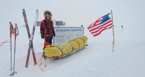 Colin O'Brady at the South Pole on December 12th. Photo: New York Times
