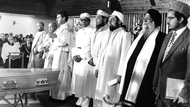 Fr Liam O'Driscoll and a number of Indian religious leaders take part in an interdenominational memorial service at Cork Regional Hospital for those who died in the Air India plane crash in 1985. Photograph: Jack McManus