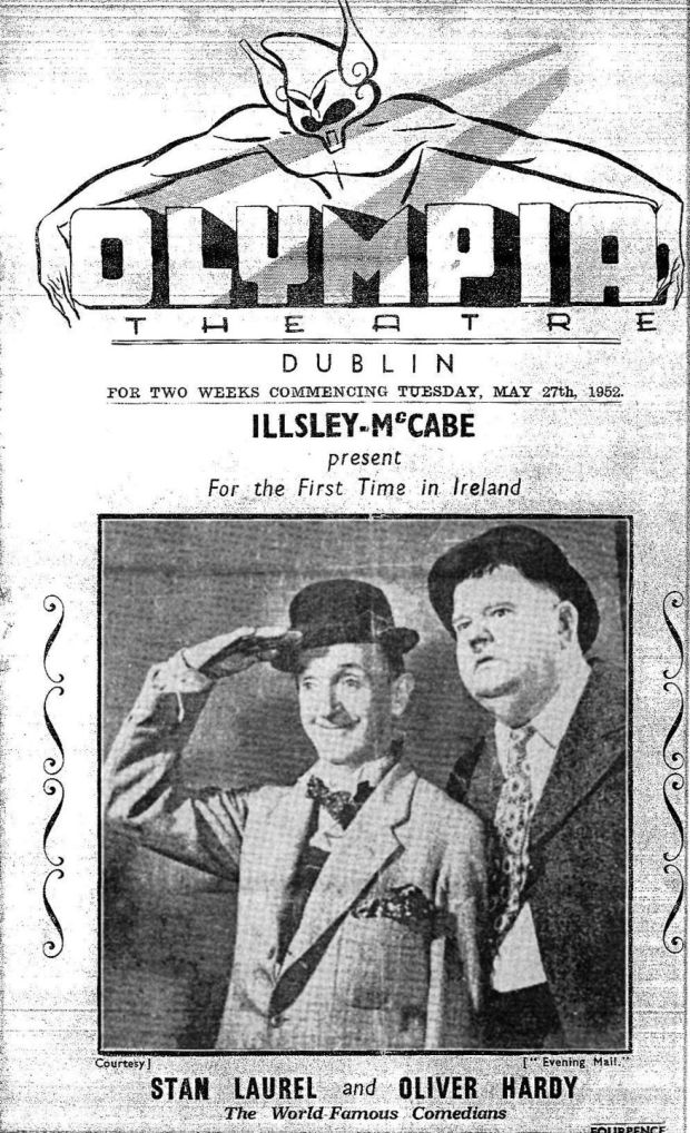 The play bill from Laurel and Hardy's show at the Olympia Theatre, Dublin, 1952.
