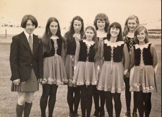 "Andrews School dancers on the Larne promenade in the 1970s. Angeline King recalls: ""When I was a little girl in the 1980s, we'd wear our green, white and gold dresses for the May Day festival and then red, white and blue for the Twelfth. I used to attend band practice with my dad's Chaine Memorial band in the town hall on a Wednesday night and then attend the Andrews school of Irish dancing in the same hall on a Saturday morning."""