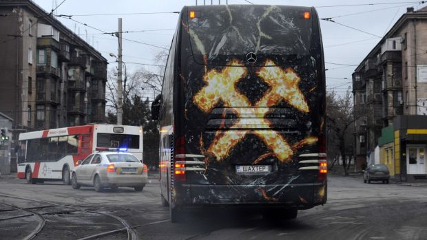 The Shakhtar bus leaves the city of Kharkiv. Photo: Evgeniya Maksymova/Getty Images
