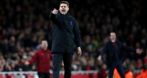 Tottenham Hotspur manager Mauricio Pochettino on the touchline during the Carabao Cup quarter-final match against Arsenal at the Emirates Stadium. Photograph:  Nick Potts/PA Wire