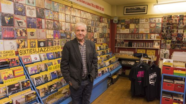 Terri Hooley in his shop Good Vibrations in Belfast. Photograph: Fishman/ullstein bild via Getty Images