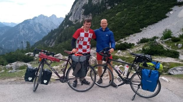 Thomas Moran with his friend Ben at Vrisic Pass in Slovenia.