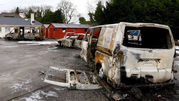In the early hours of last Sunday a Roscommon property was stormed by a gang who beat security men guarding the premises, burning their vans and cars and forcing them out of the house. Photograph: Brian Farrell