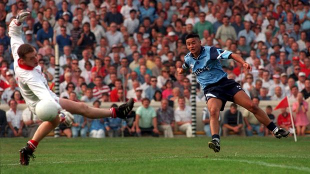 Jason Sherlock blasts the ball past Cork goalkeeper Kevin O'Dwyer for his side's goal in the 1995 All-Ireland football semi-final victory over Cork. Photograph: David Maher/Inpho