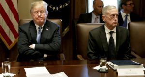 US president Donald Trump and defence secretary James Mattis at a cabinet meeting at the White House on June 21st, 2018.  Photograph: Yuri Gripas/Bloomberg