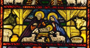 A Nativity stained glass scene at the Abbey Stained Glass Studios in Dublin. Photograph: Alan Betson