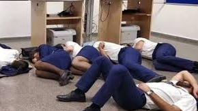 The phtographed released by Ryanair crew showing them sleeping on the floor.