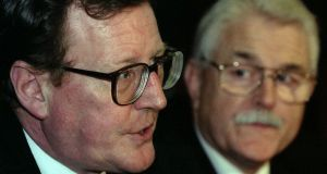 "David Trimble and  Ken Maginnis of the Ulster Unionist Party told the US government  ""it was important not to humiliate [Ian Paisley] any further"". Photograph: Michael Crabtree/Reuters"